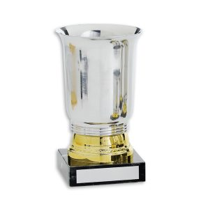 Sheffield vit bakgrund - Pokal/bägare i guld och silver med svart marmorsockel (22081)