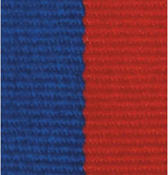 Medaljband blårött långt, 22mm bredd (70007)