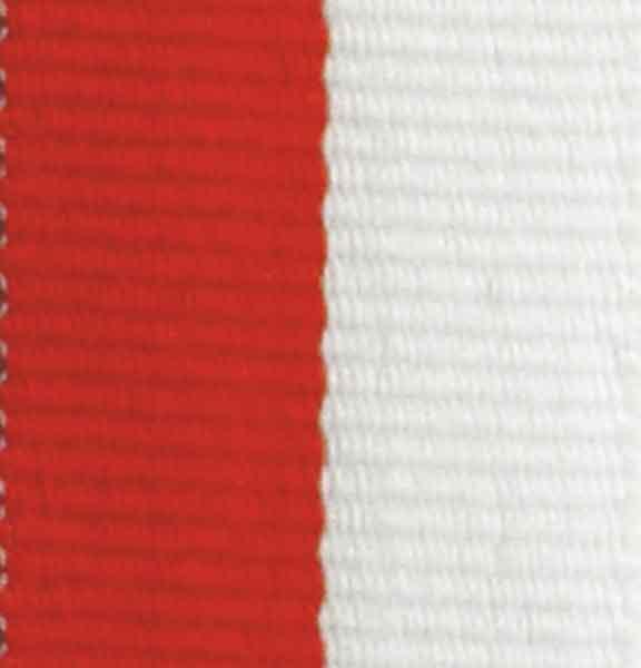Medaljband rödvitt långt, 22mm bredd (70003)