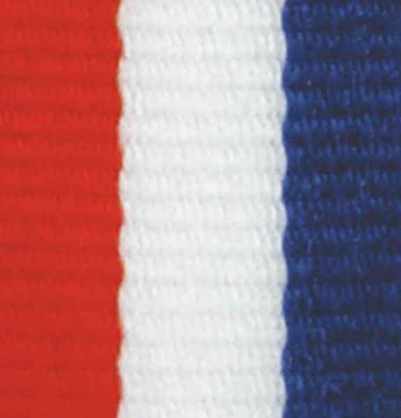 Medaljband rött, vitt och blått långt, 22mm bredd (70010)