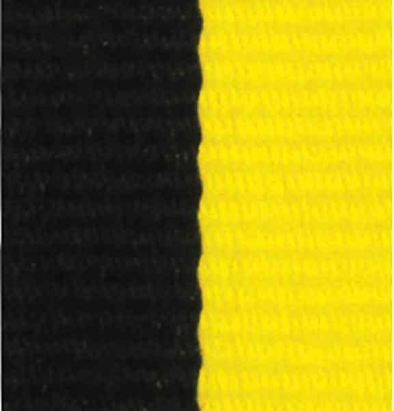 Medaljband svartgult långt, 22mm bredd (70008)