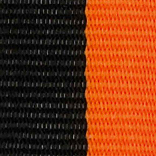 Medaljband svartorange långt, 22mm bredd (70015)