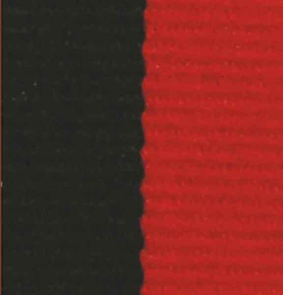 Medaljband svartrött långt, 22mm bredd (70011)