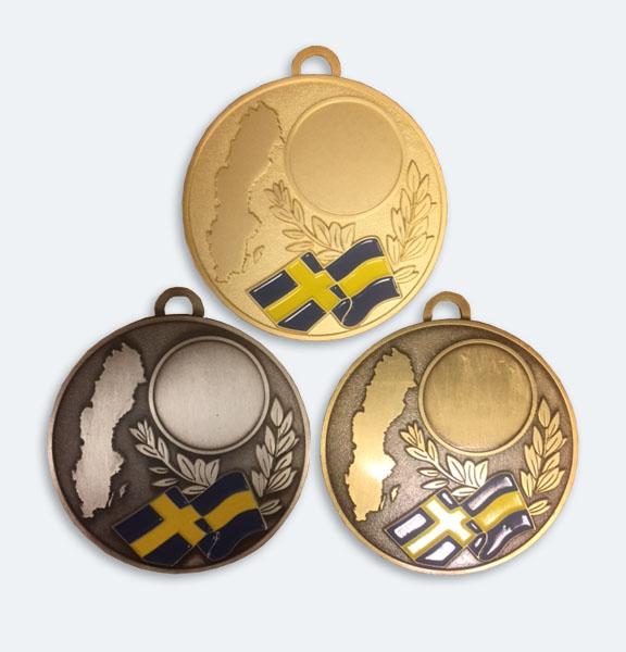 Medaljer 60mm i Guld, Silver och Brons med svenska flaggan - 11618-1,2,3