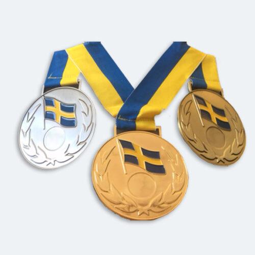 Medaljer 90mm i Guld, Silver och Brons med blågult band - 11530-1,2,3