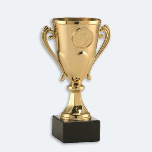 Arnhem - Pokal i guld med svart marmorsockel och plats för motiv (24031)