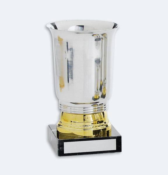 Sheffield - Pokal/bägare i guld och silver med svart marmorsockel (22081)
