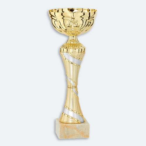 Bonn - Guld pokal med silver dekor & marmorsockel (41121)