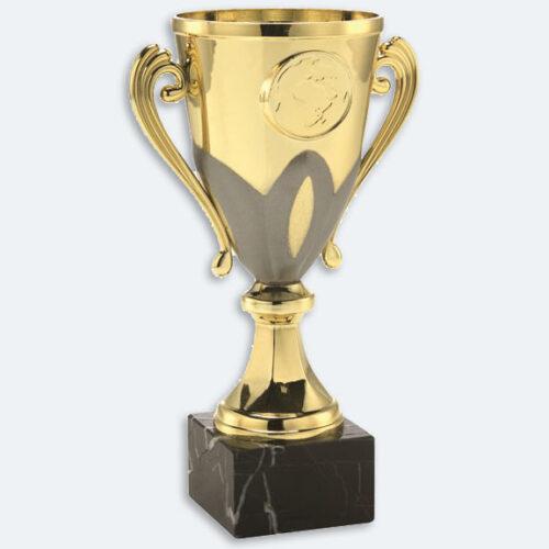 Brielle - Pokal i guld med grå detaljer och svart marmorsockel (24041)