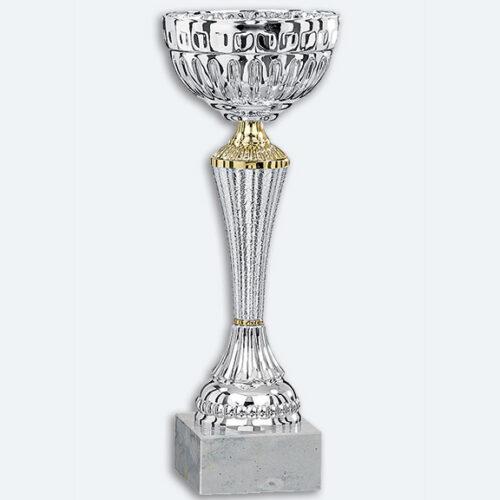 Cabar - Pokal i silver med guld dekor och vit marmorsockel (41261)