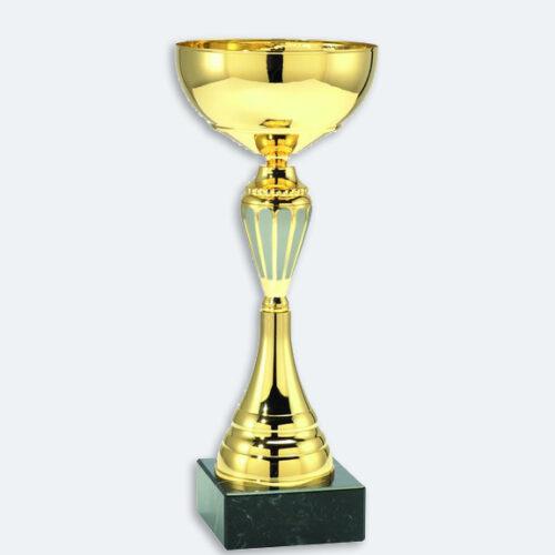 Cesena - Pokal i guld med gråa detaljer och svart marmorsockel (24401)