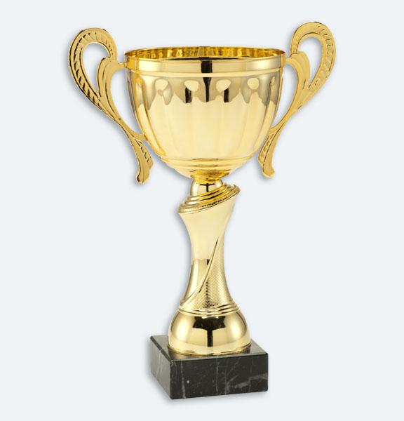 Leeds - Pokal i guld med svart marmorsockel (24611)
