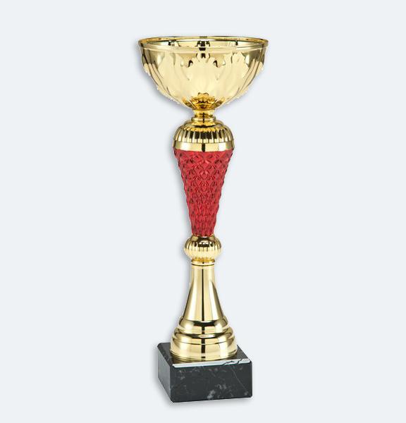 Livorno - Pokal i guld och röd mittdel med svart marmorsockel (24031)