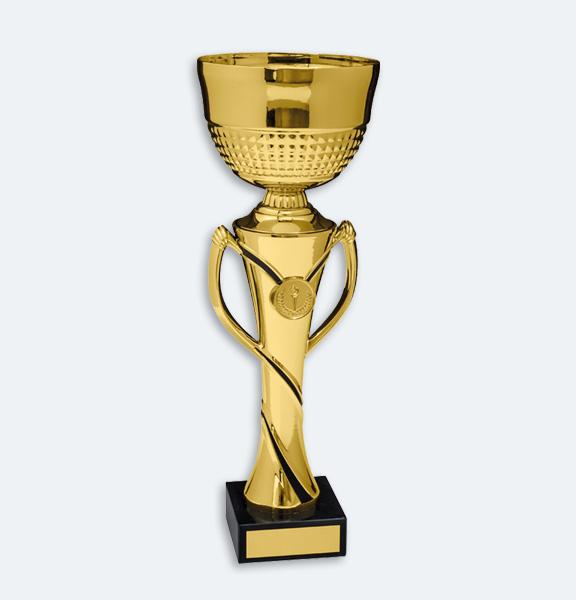 Montreux - Pokal i en kombination av guld och svart med svart marmorsockel (22061)