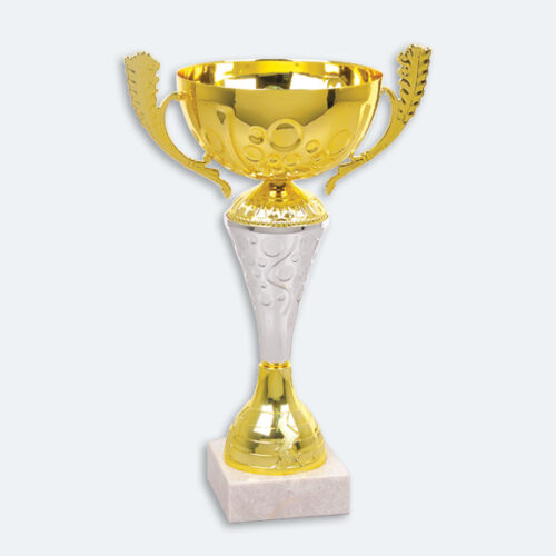 Naples - Pokal i guld och silver med vit marmorsockel (22081)