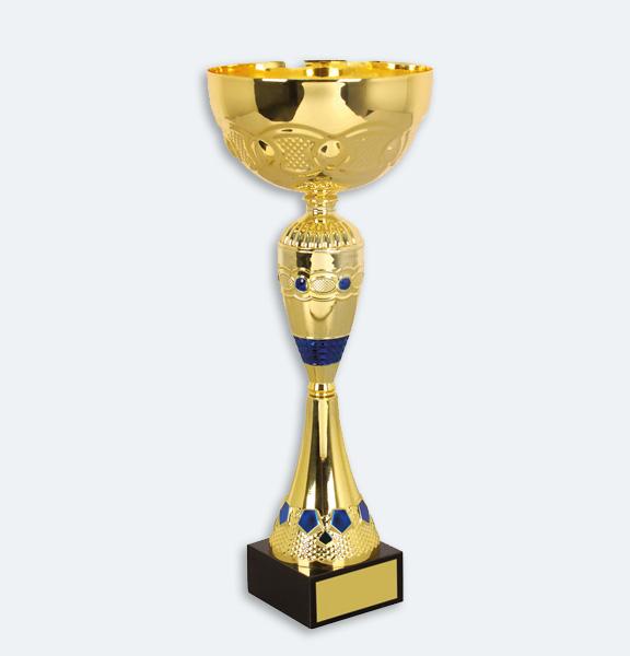 Skagen - Pokal i guld med blå detaljer svart marmorsockel (22051)
