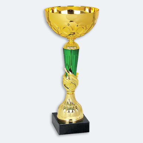 Wrexham - Pokal i guld och grönt med aluminiumkupor och svart sockel (22011)
